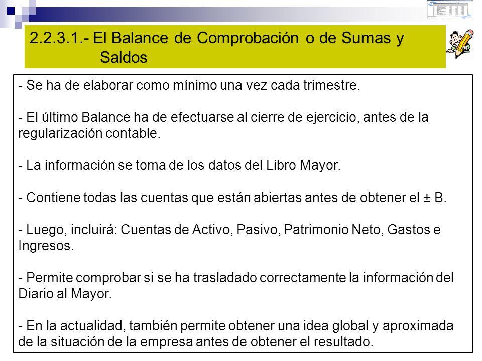 2.2.3.1.- El Balance de Comprobación o de Sumas y Saldos