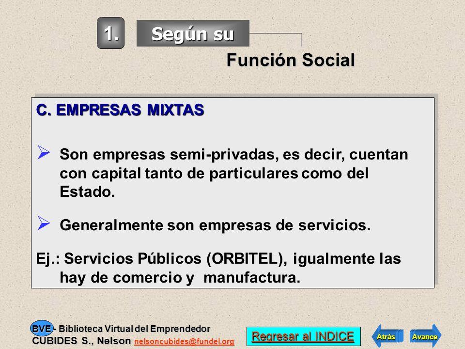 1. Según su Función Social C. EMPRESAS MIXTAS