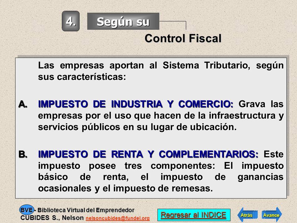 4. Según su Control Fiscal