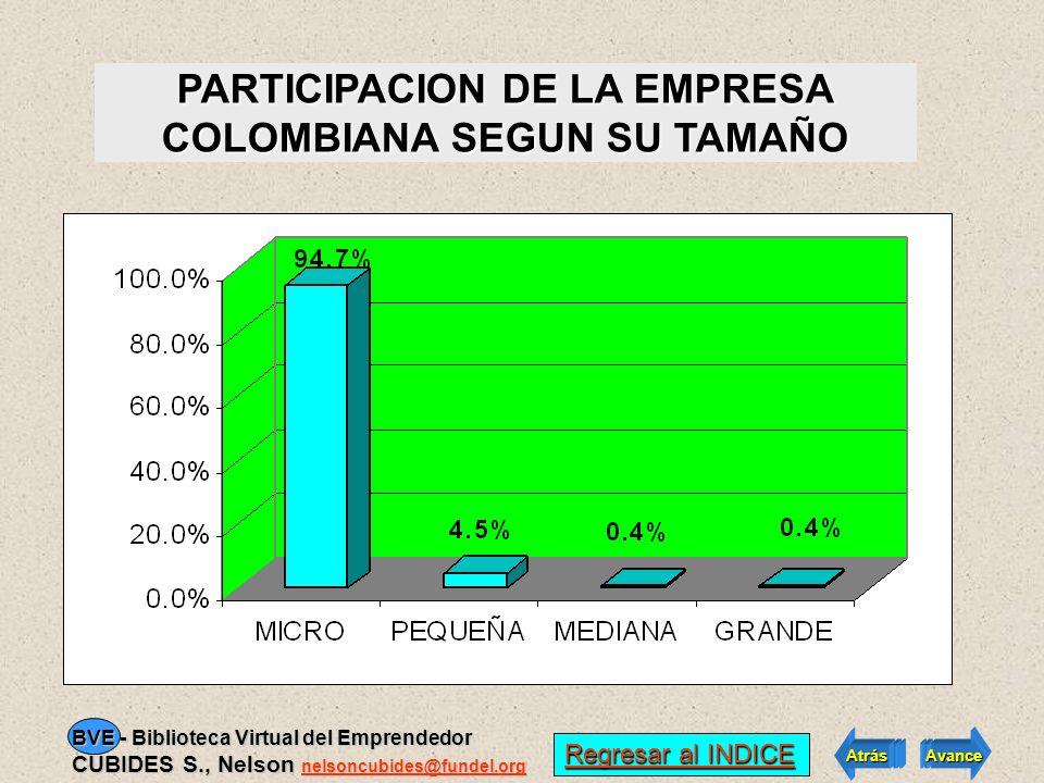 PARTICIPACION DE LA EMPRESA COLOMBIANA SEGUN SU TAMAÑO