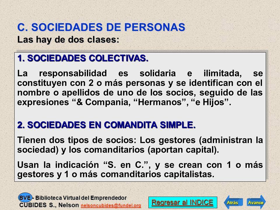C. SOCIEDADES DE PERSONAS