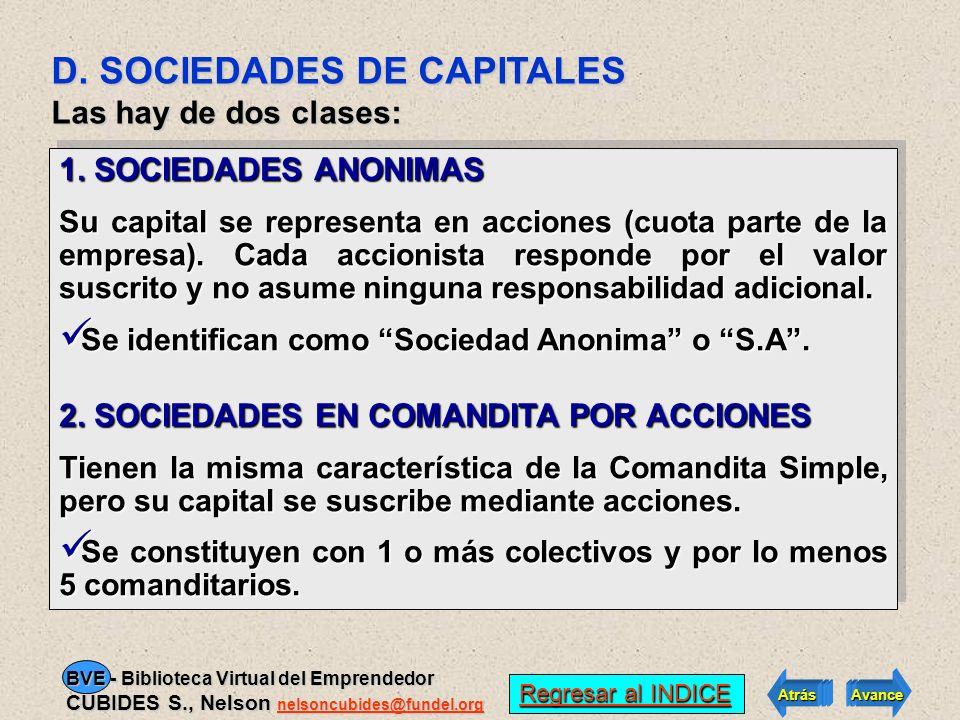 D. SOCIEDADES DE CAPITALES