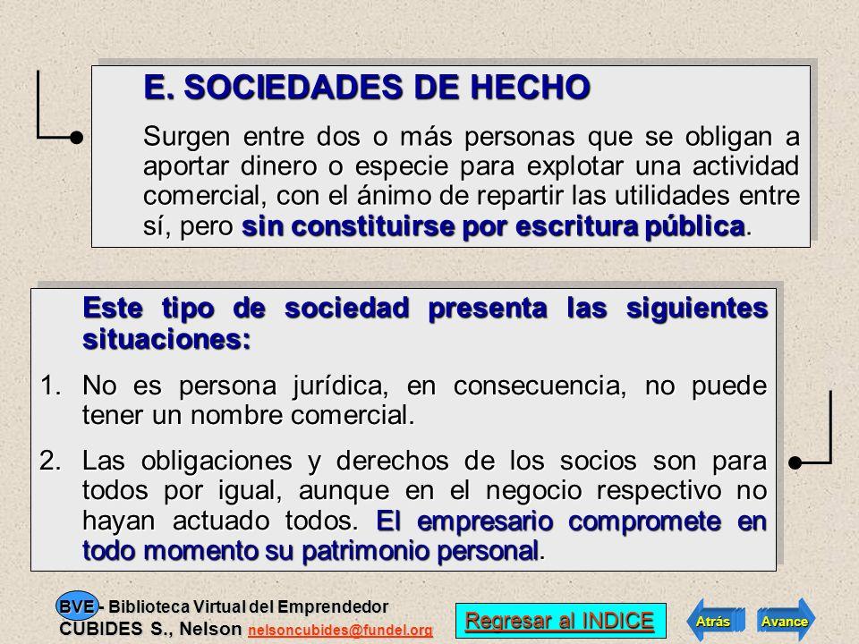E. SOCIEDADES DE HECHO