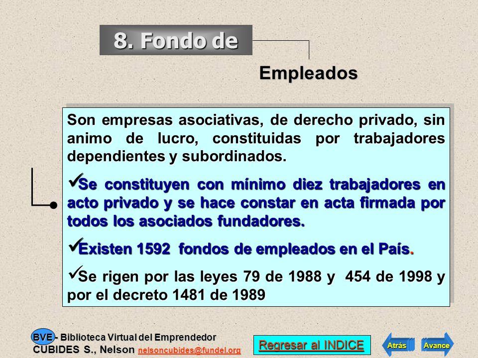 8. Fondo de Empleados. Son empresas asociativas, de derecho privado, sin animo de lucro, constituidas por trabajadores dependientes y subordinados.