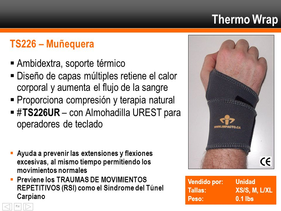 Thermo Wrap TS226 – Muñequera Ambidextra, soporte térmico