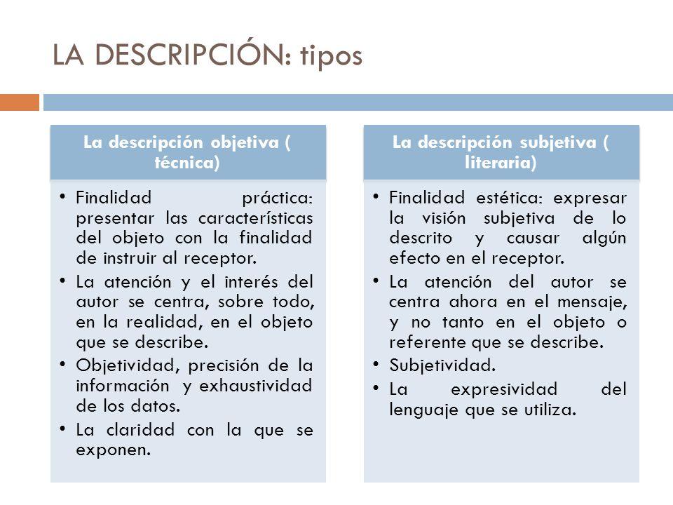 LA DESCRIPCIÓN: tipos La descripción objetiva ( técnica)
