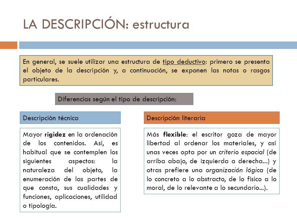 LA DESCRIPCIÓN: estructura