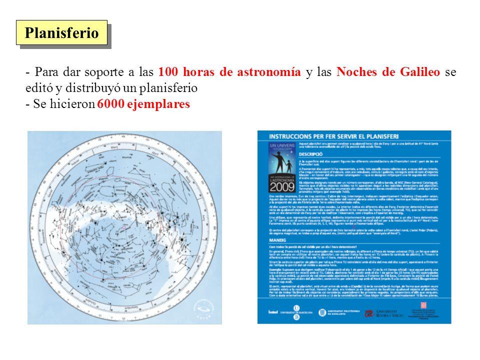 Planisferio - Para dar soporte a las 100 horas de astronomía y las Noches de Galileo se editó y distribuyó un planisferio.