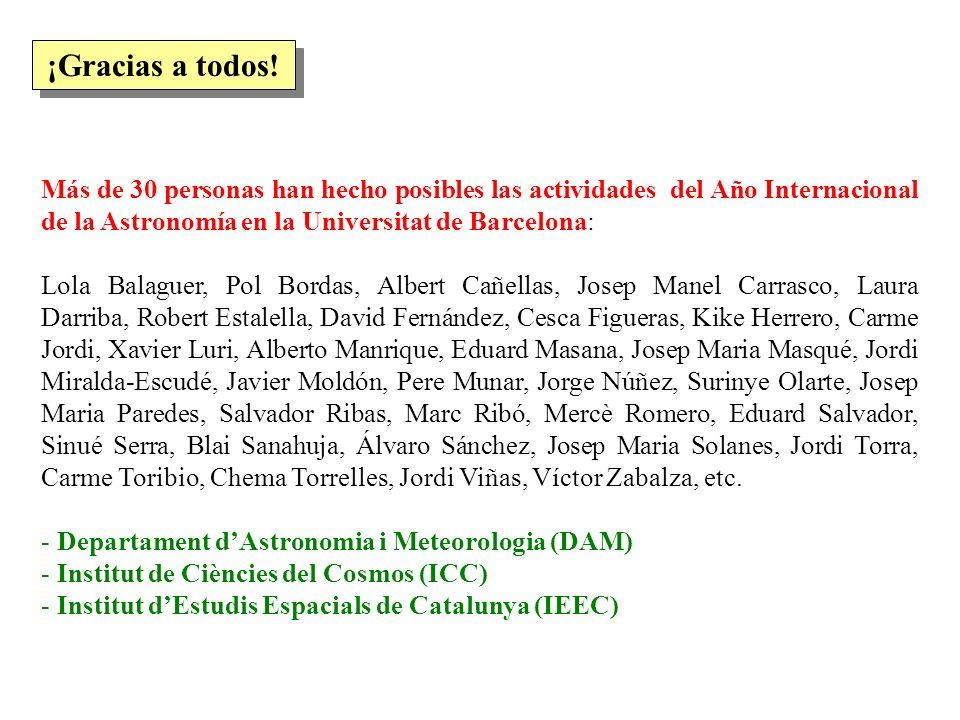 ¡Gracias a todos! Más de 30 personas han hecho posibles las actividades del Año Internacional de la Astronomía en la Universitat de Barcelona: