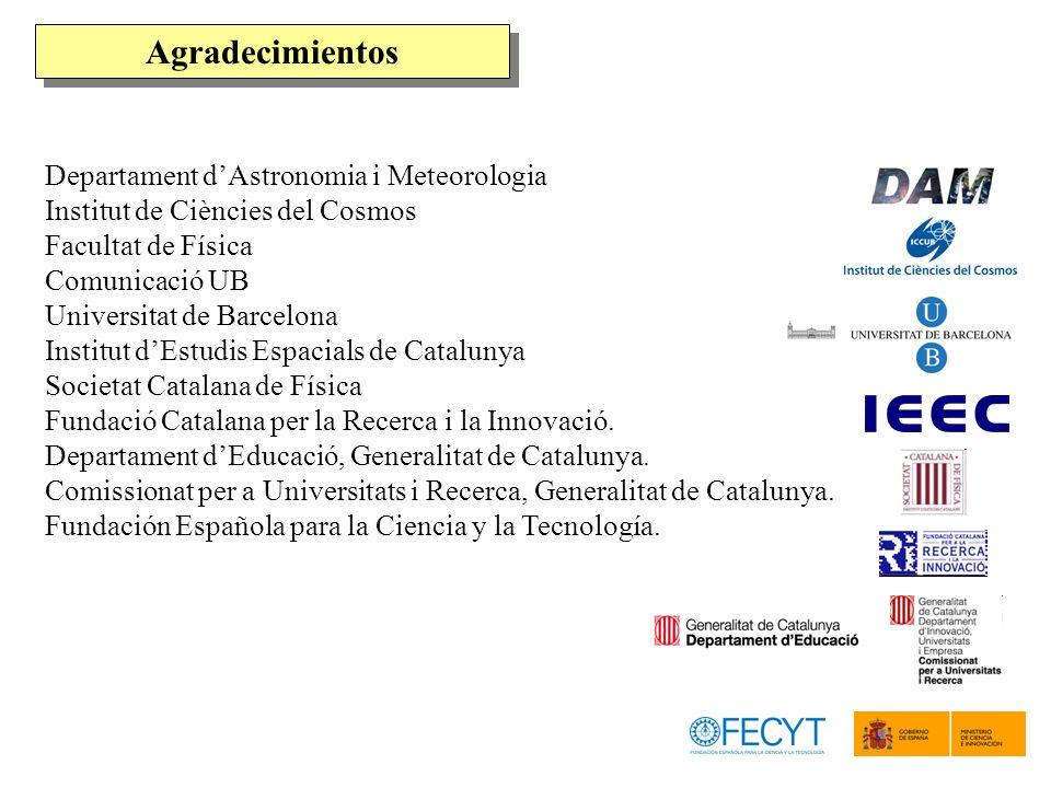 Agradecimientos Departament d'Astronomia i Meteorologia