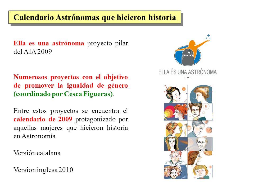 Calendario Astrónomas que hicieron historia
