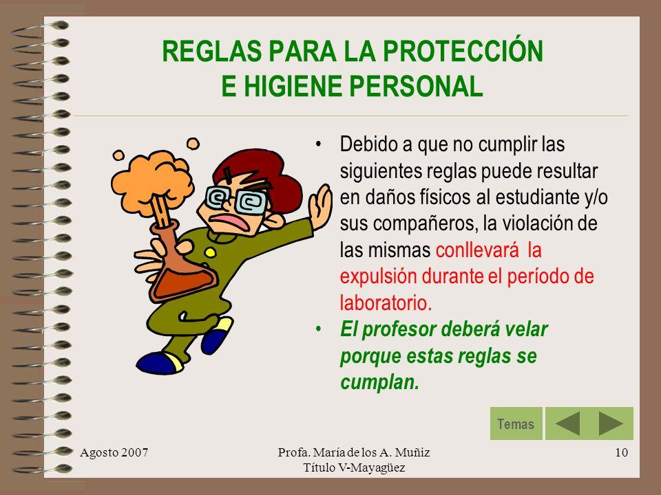 REGLAS PARA LA PROTECCIÓN E HIGIENE PERSONAL