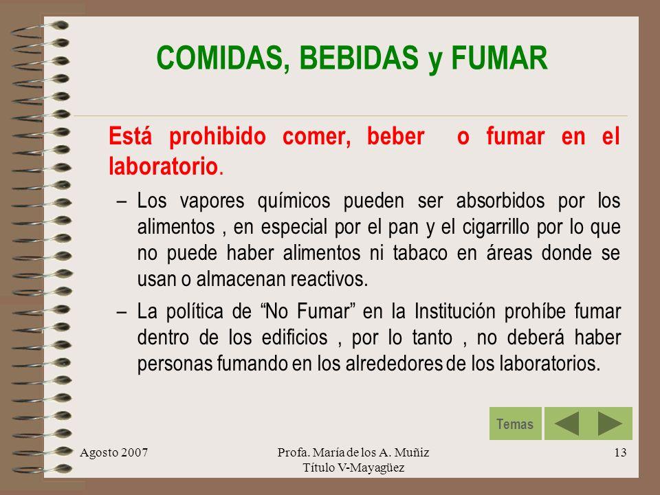 COMIDAS, BEBIDAS y FUMAR