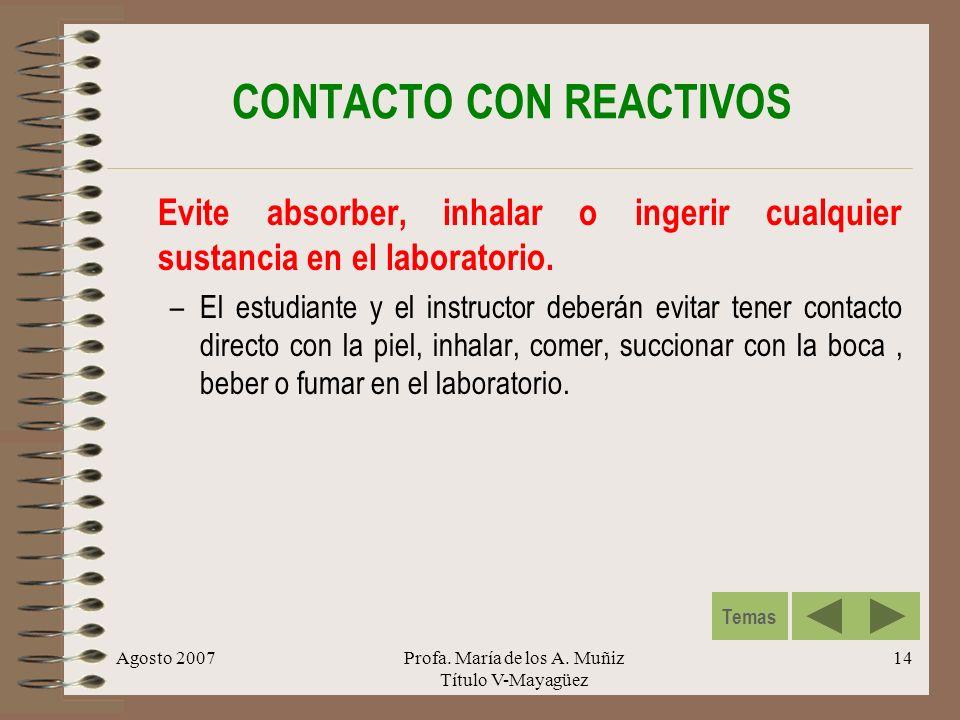 CONTACTO CON REACTIVOS