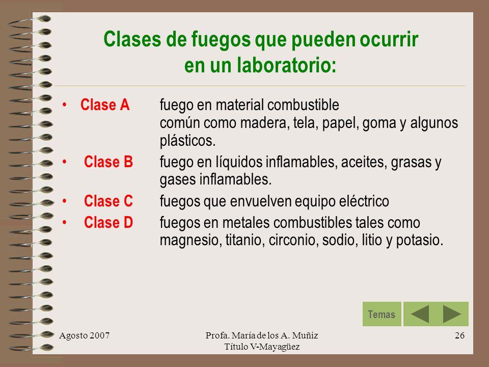 Clases de fuegos que pueden ocurrir en un laboratorio: