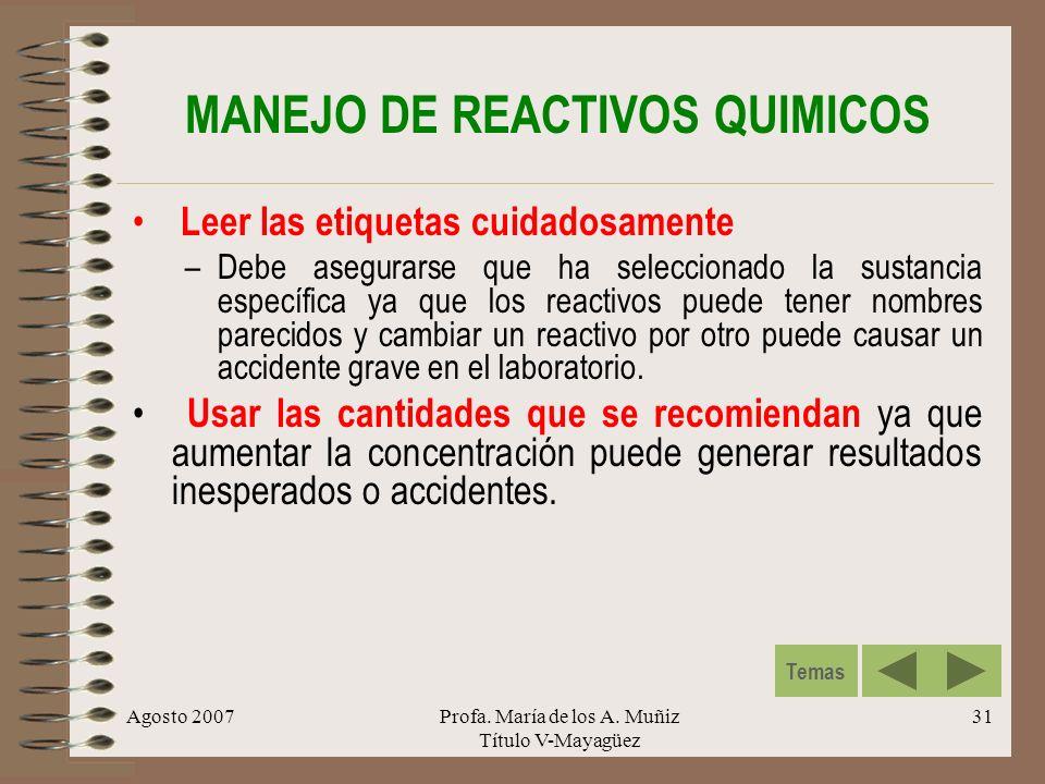 MANEJO DE REACTIVOS QUIMICOS