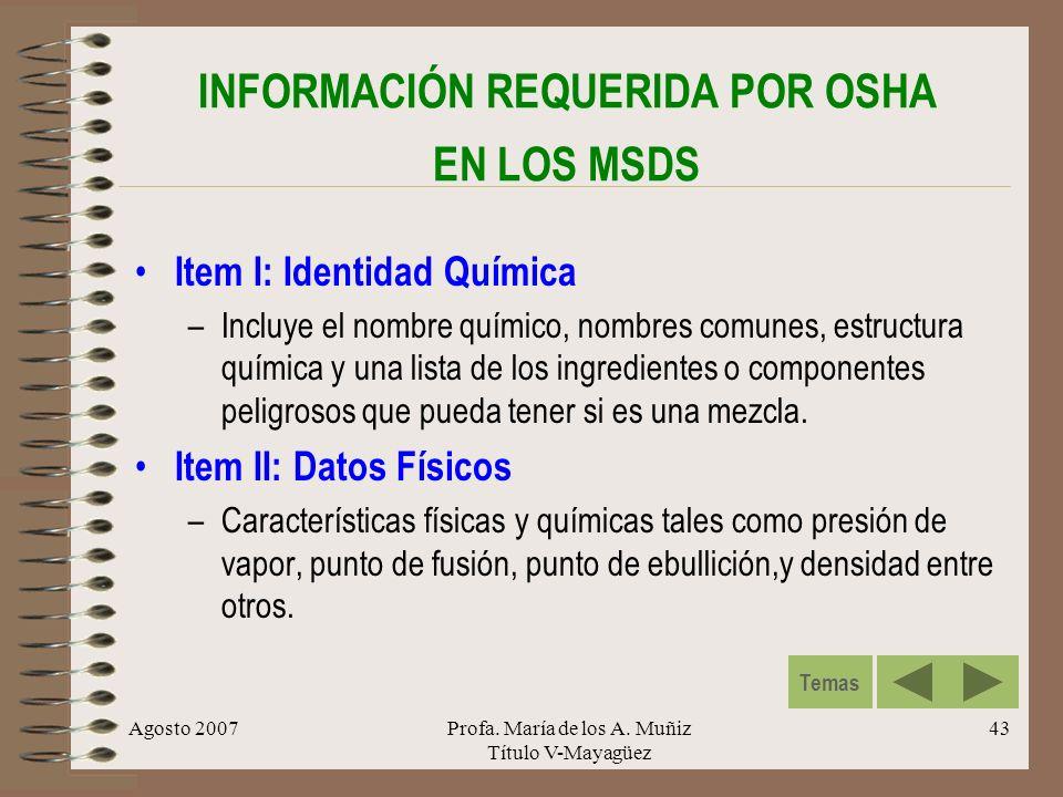 INFORMACIÓN REQUERIDA POR OSHA EN LOS MSDS