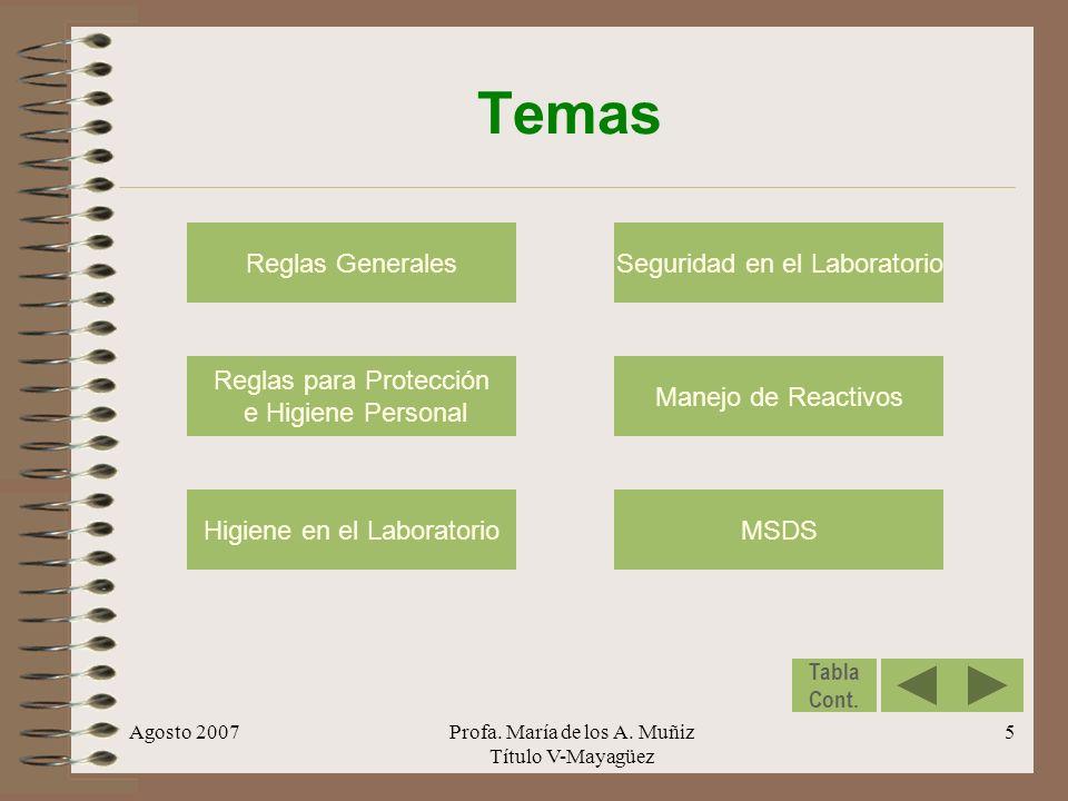 Temas Reglas Generales Seguridad en el Laboratorio