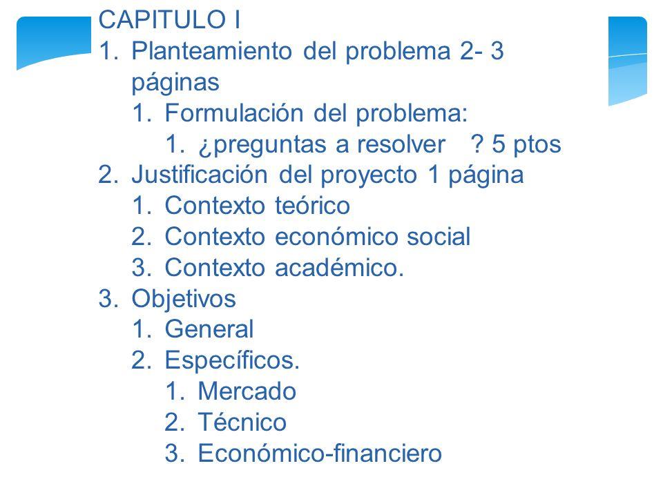 CAPITULO I Planteamiento del problema 2- 3 páginas. Formulación del problema: ¿preguntas a resolver 5 ptos.