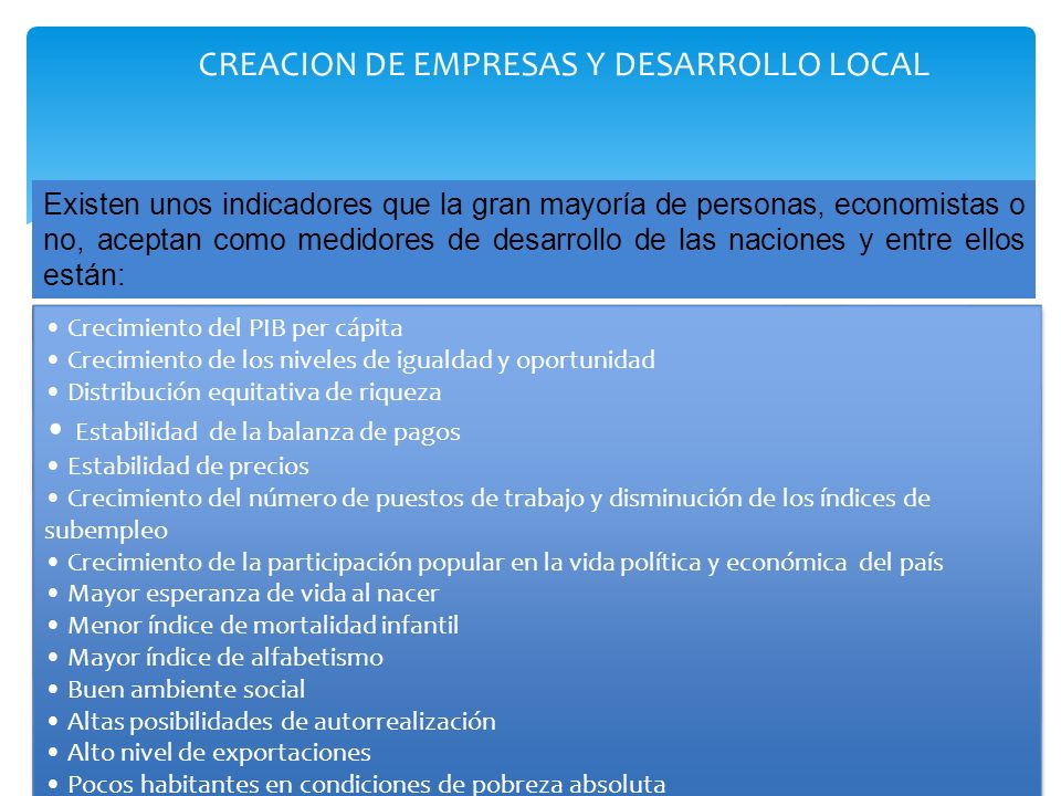 CREACION DE EMPRESAS Y DESARROLLO LOCAL