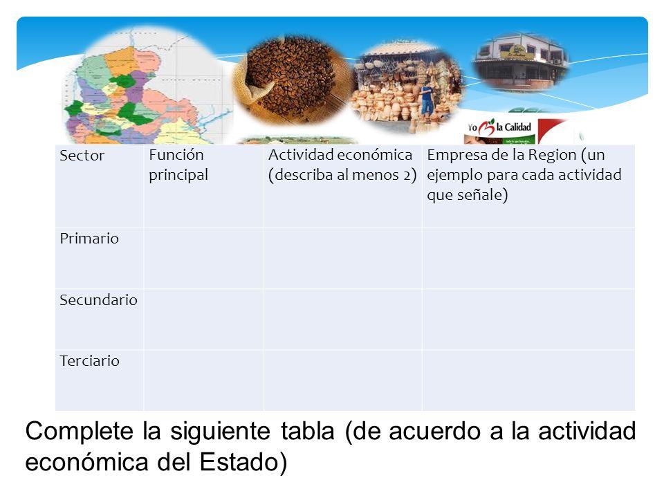 Sector Función principal. Actividad económica (describa al menos 2) Empresa de la Region (un ejemplo para cada actividad que señale)