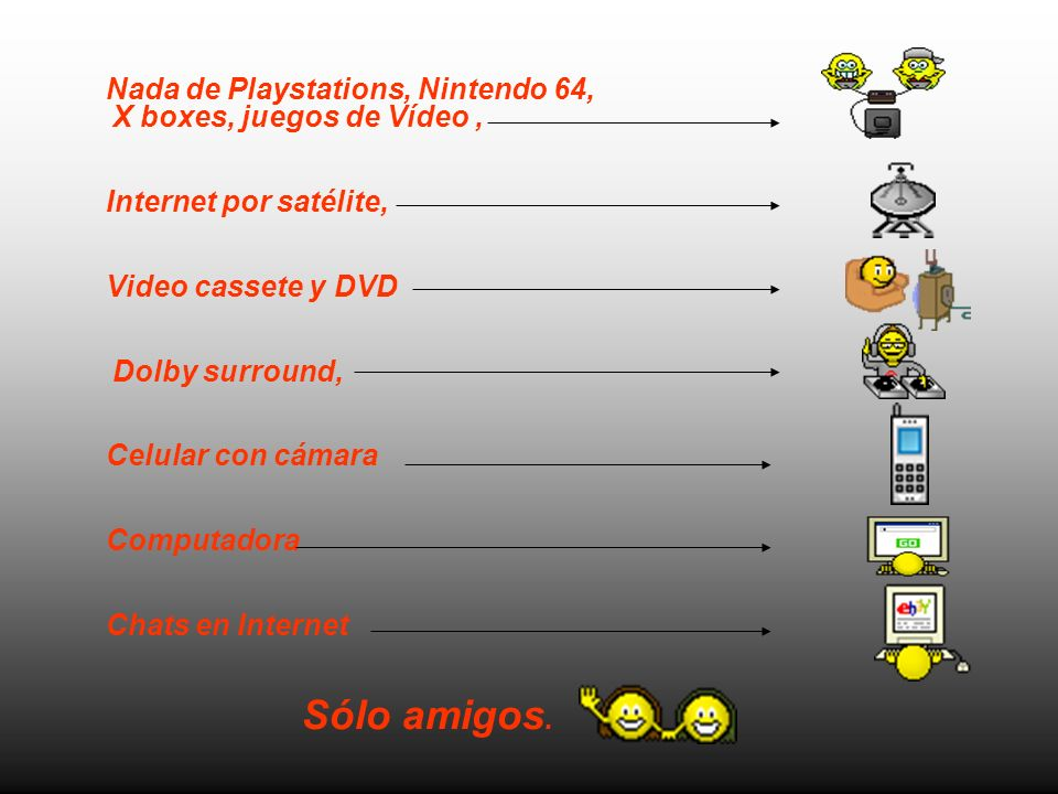 Nada de Playstations, Nintendo 64, X boxes, juegos de Vídeo ,