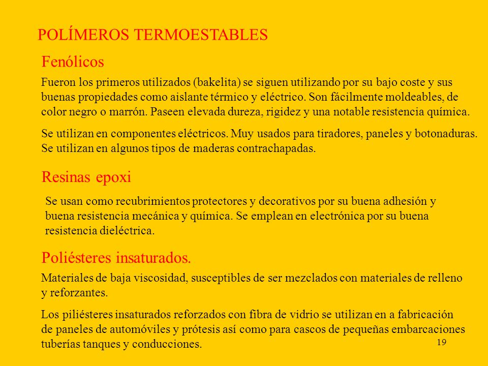 POLÍMEROS TERMOESTABLES
