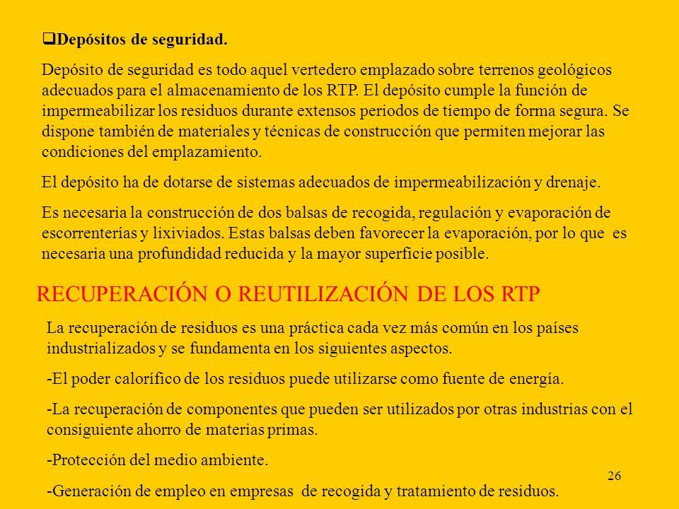 RECUPERACIÓN O REUTILIZACIÓN DE LOS RTP