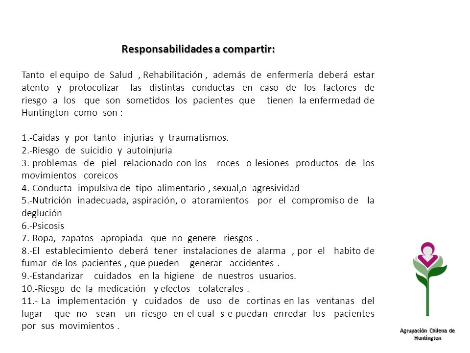 Responsabilidades a compartir: Agrupación Chilena de Huntington