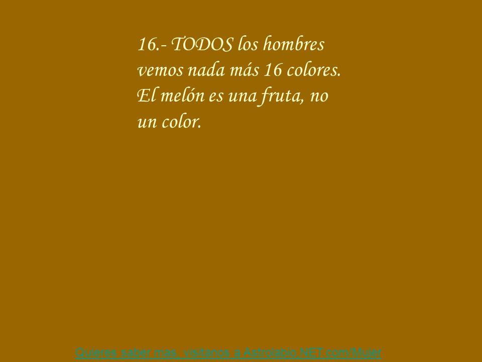 16.- TODOS los hombres vemos nada más 16 colores.