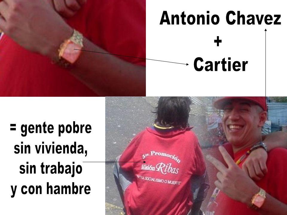 Antonio Chavez + Cartier = gente pobre sin vivienda, sin trabajo y con hambre