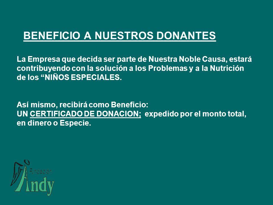BENEFICIO A NUESTROS DONANTES