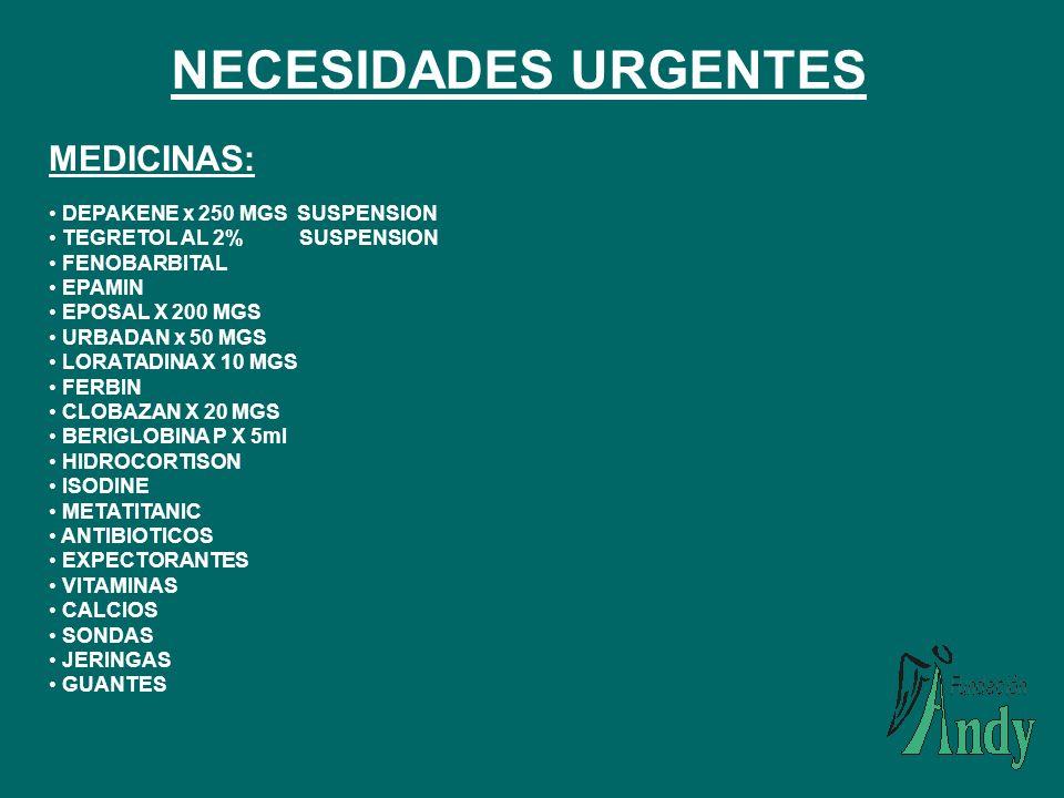 NECESIDADES URGENTES MEDICINAS: DEPAKENE x 250 MGS SUSPENSION