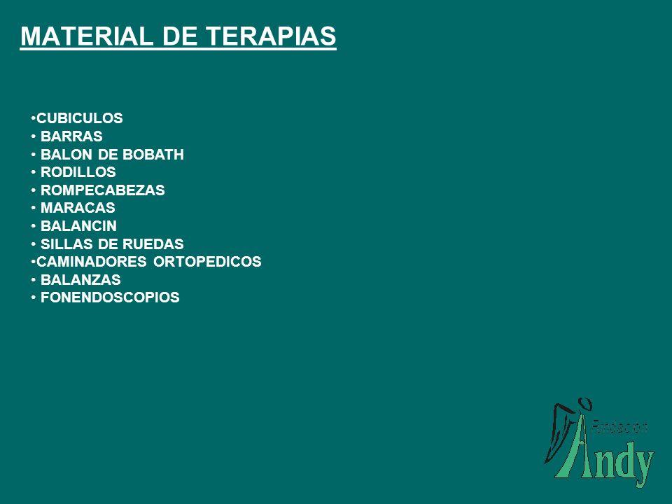 MATERIAL DE TERAPIAS CUBICULOS BARRAS BALON DE BOBATH RODILLOS