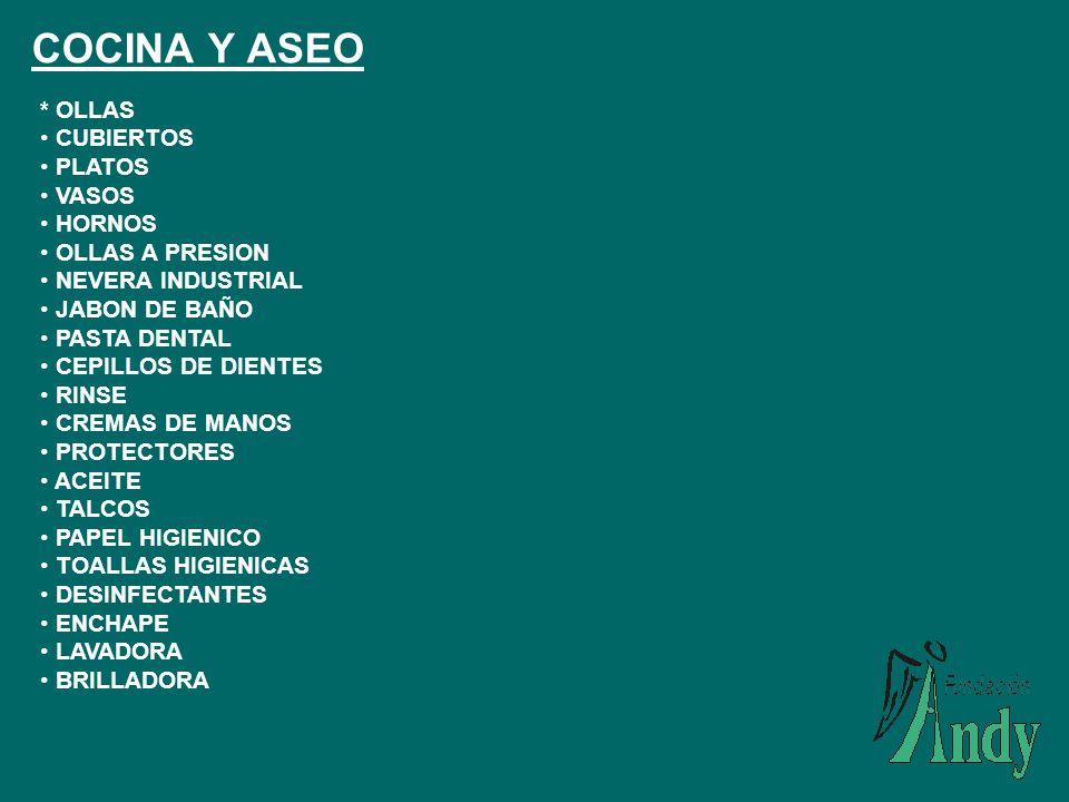 COCINA Y ASEO * OLLAS CUBIERTOS PLATOS VASOS HORNOS OLLAS A PRESION
