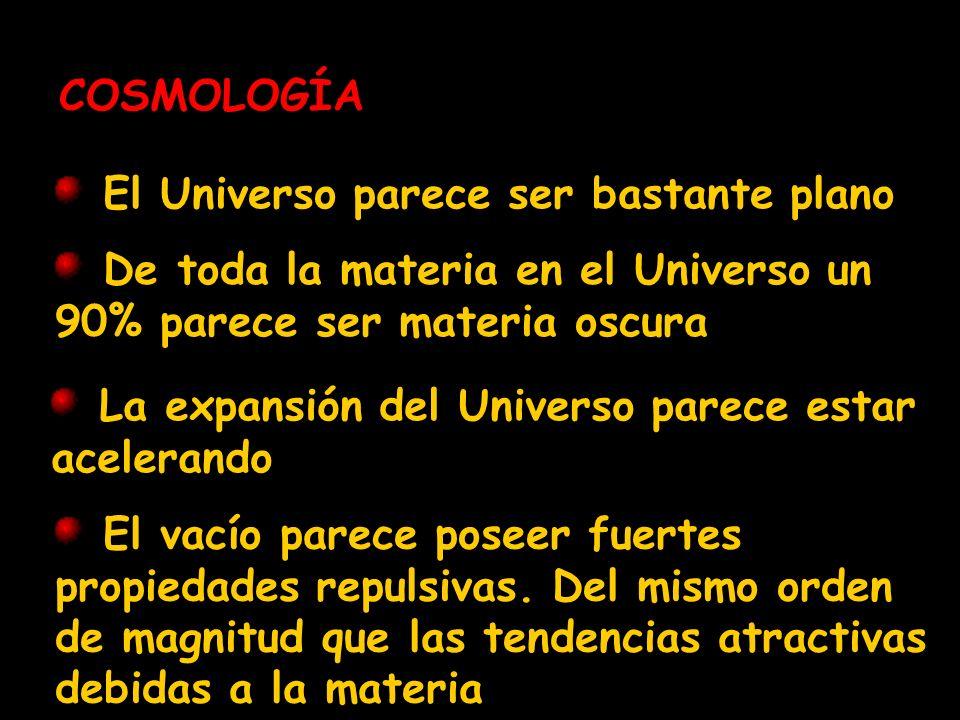 COSMOLOGÍA El Universo parece ser bastante plano. De toda la materia en el Universo un 90% parece ser materia oscura.