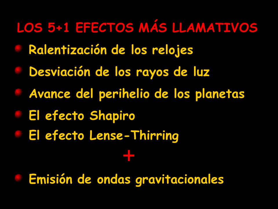 + LOS 5+1 EFECTOS MÁS LLAMATIVOS Ralentización de los relojes