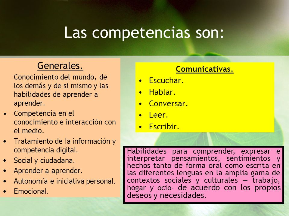 Las competencias son: Generales. Comunicativas. Escuchar. Hablar.