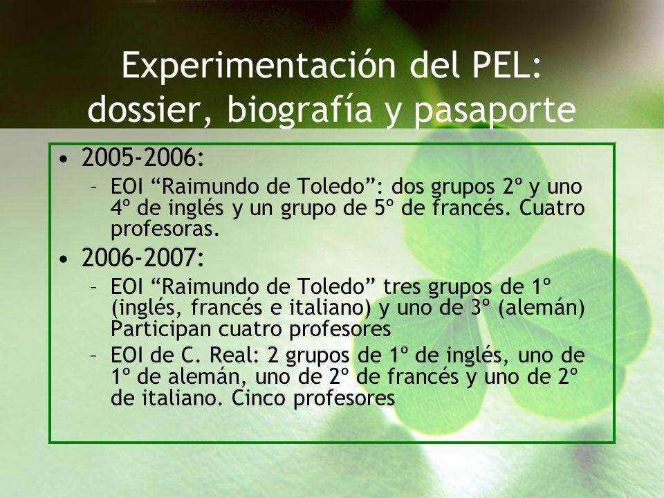 Experimentación del PEL: dossier, biografía y pasaporte