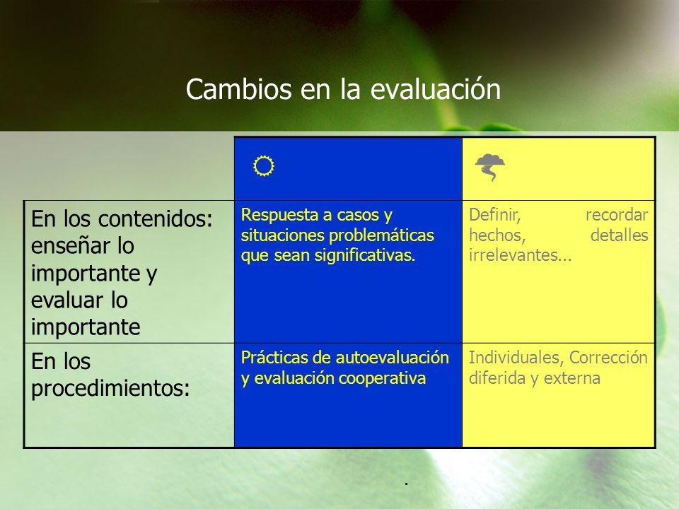 Cambios en la evaluación