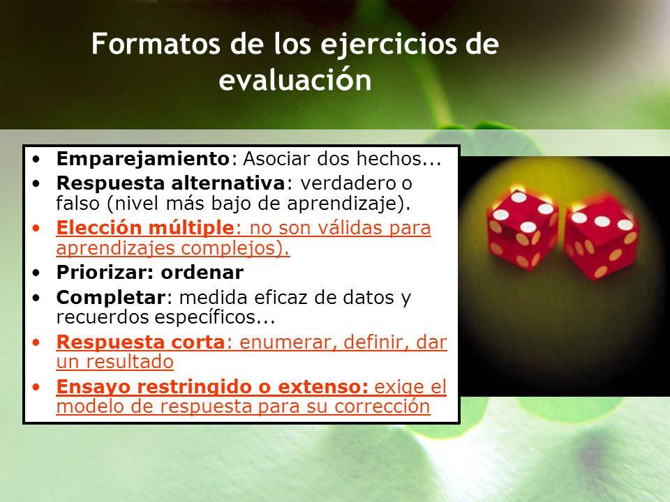 Formatos de los ejercicios de evaluación