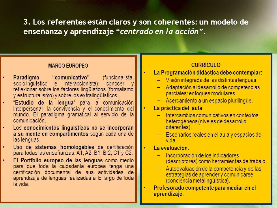 3. Los referentes están claros y son coherentes: un modelo de enseñanza y aprendizaje centrado en la acción .