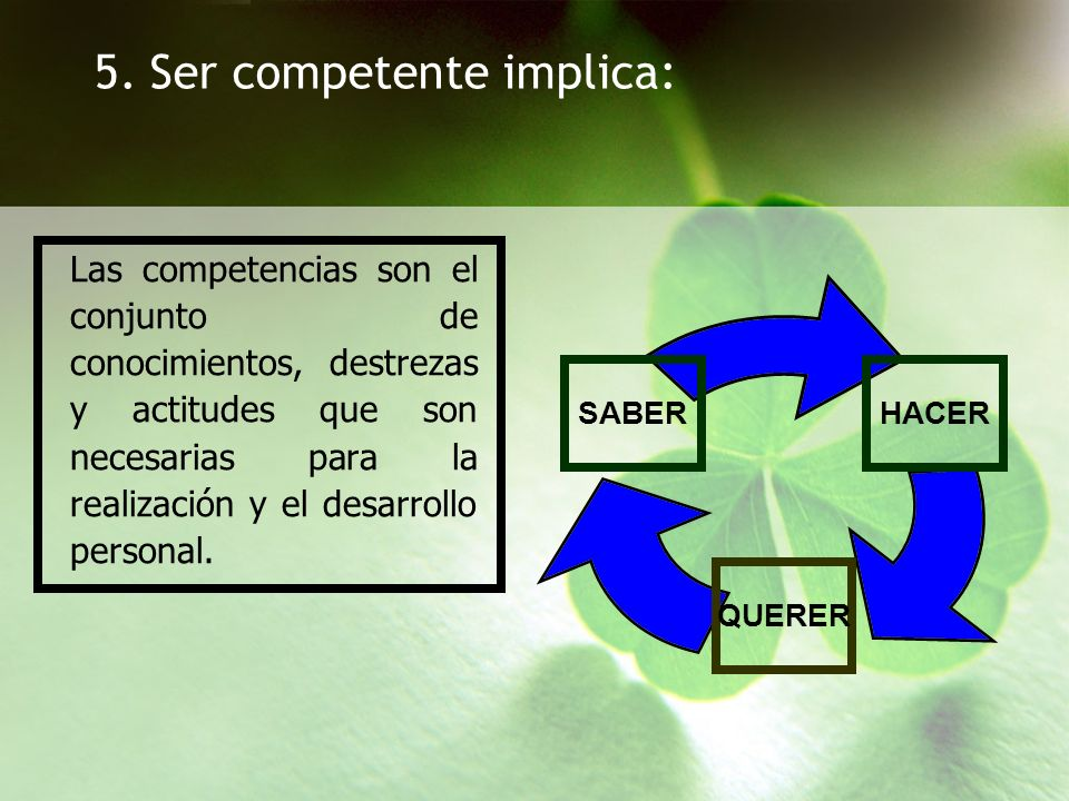 5. Ser competente implica: