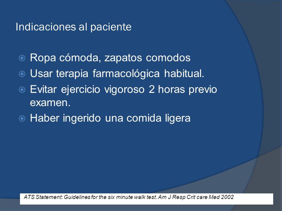 Indicaciones al paciente