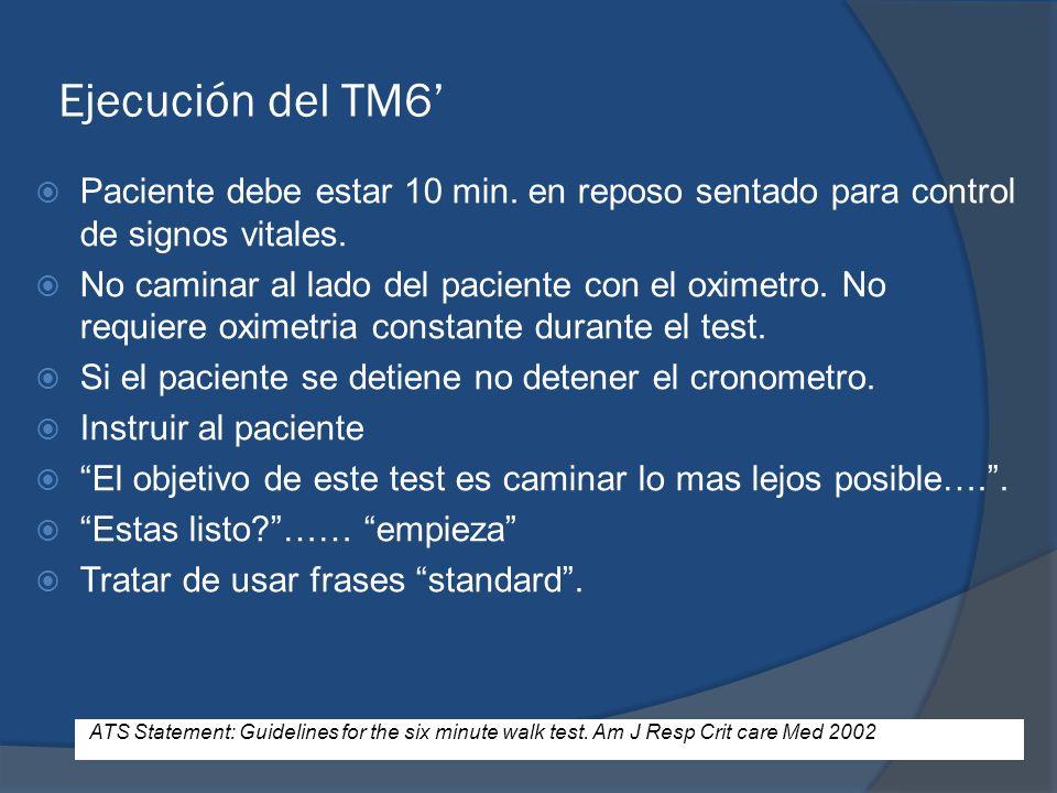 Ejecución del TM6' Paciente debe estar 10 min. en reposo sentado para control de signos vitales.