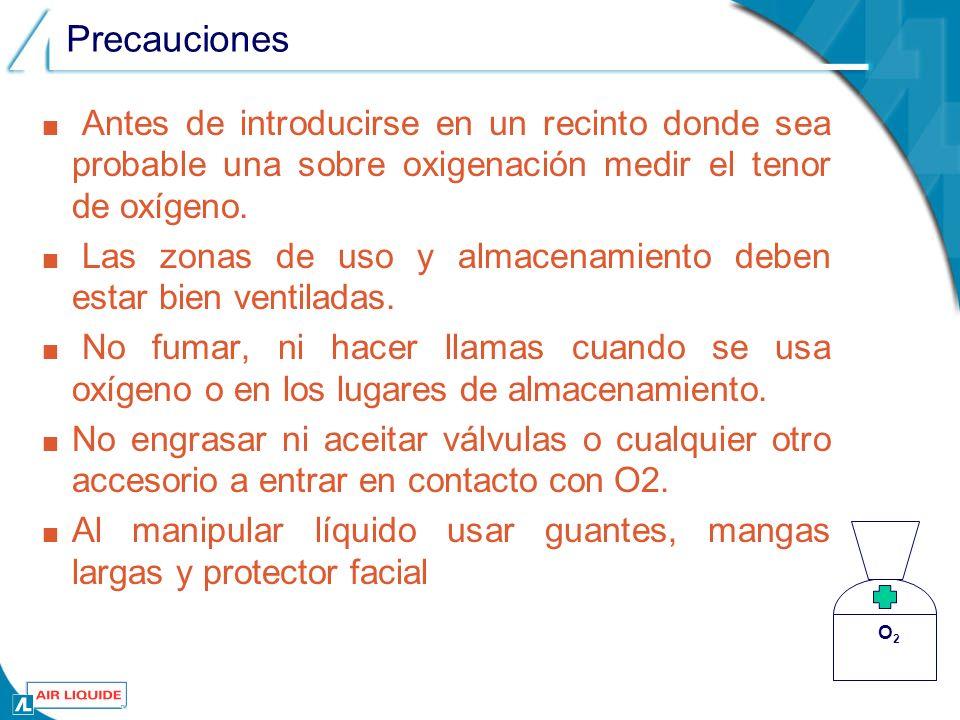 Precauciones Antes de introducirse en un recinto donde sea probable una sobre oxigenación medir el tenor de oxígeno.