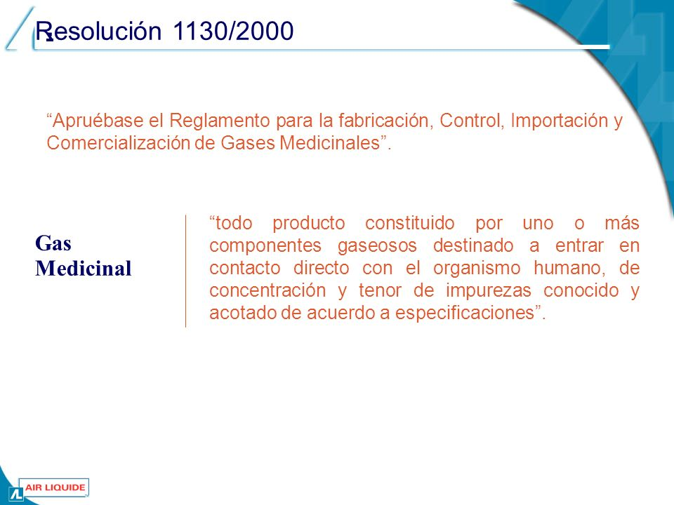 . Resolución 1130/2000 Gas Medicinal