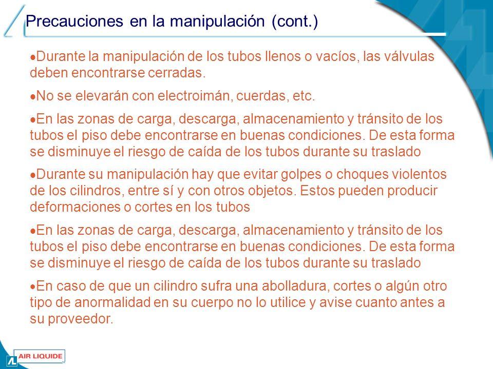 . Precauciones en la manipulación (cont.)
