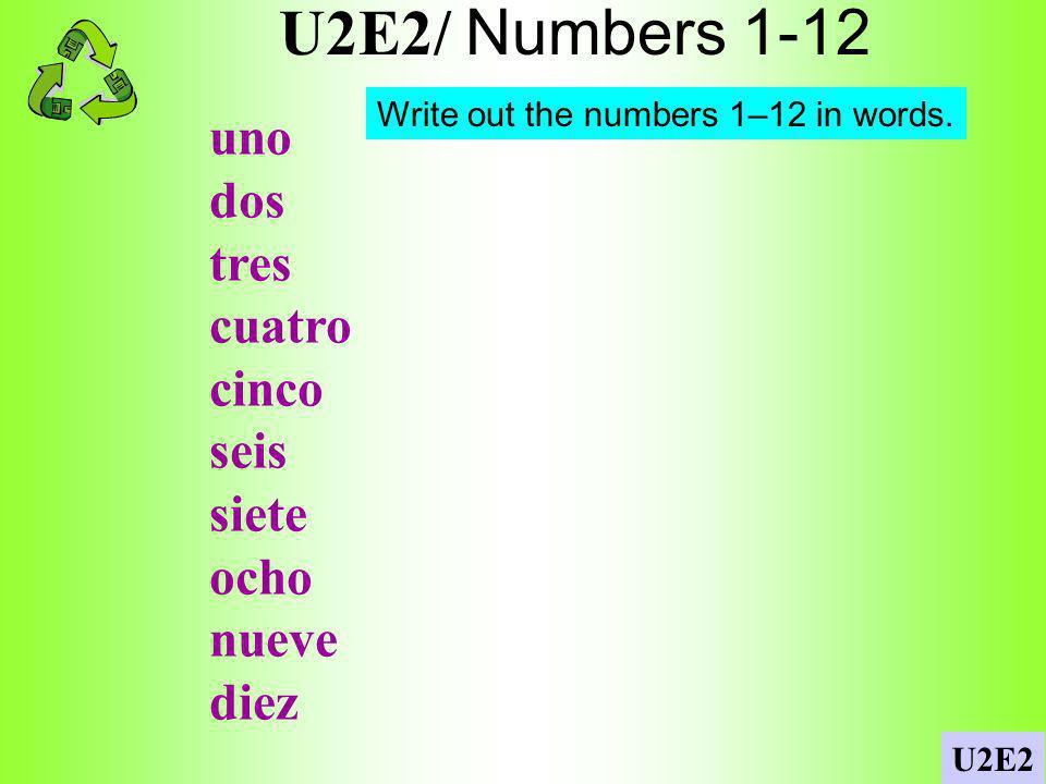 U2E2/ Numbers 1-12 uno dos tres cuatro cinco seis siete ocho nueve