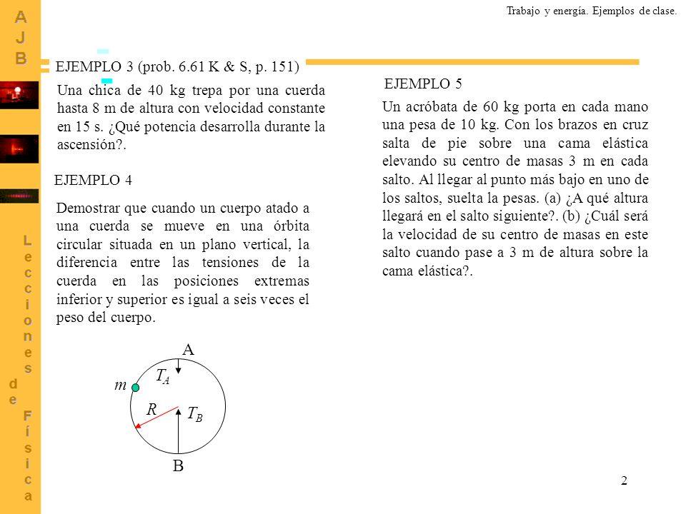 A TA m R TB B EJEMPLO 3 (prob. 6.61 K & S, p. 151) EJEMPLO 5